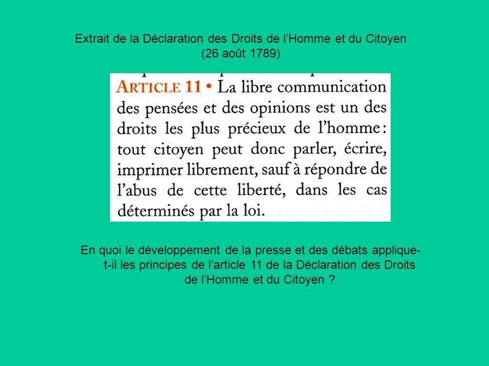 Extrait de la Déclaration des Droits de l'Homme et du Citoyen (26 août 1789)
