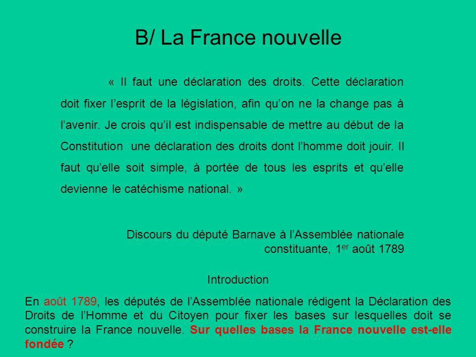B/ La France nouvelle