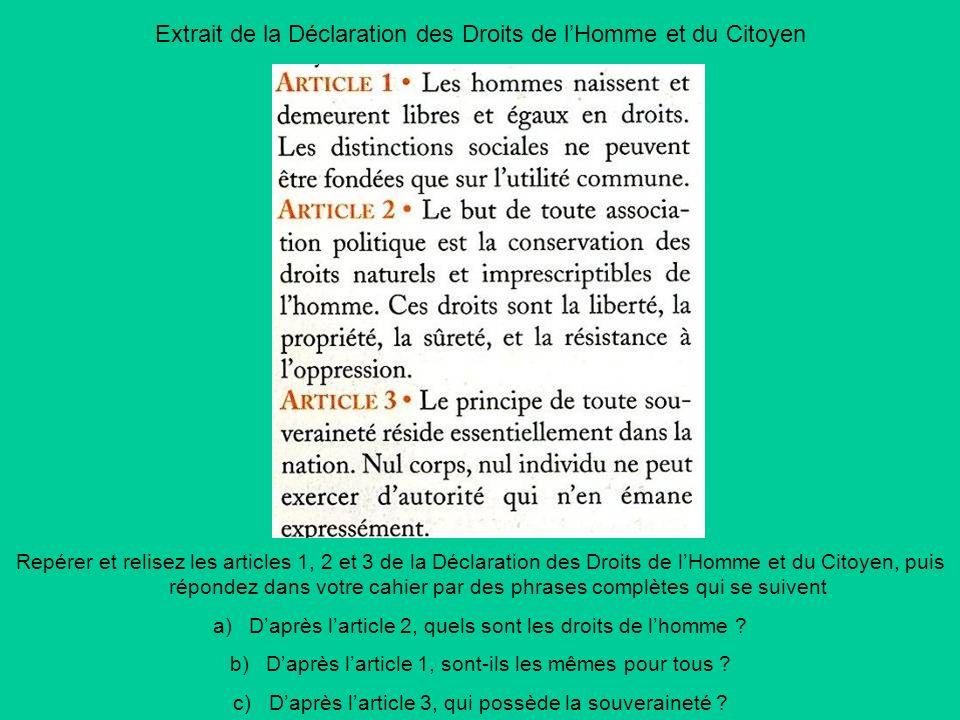Extrait de la Déclaration des Droits de l'Homme et du Citoyen