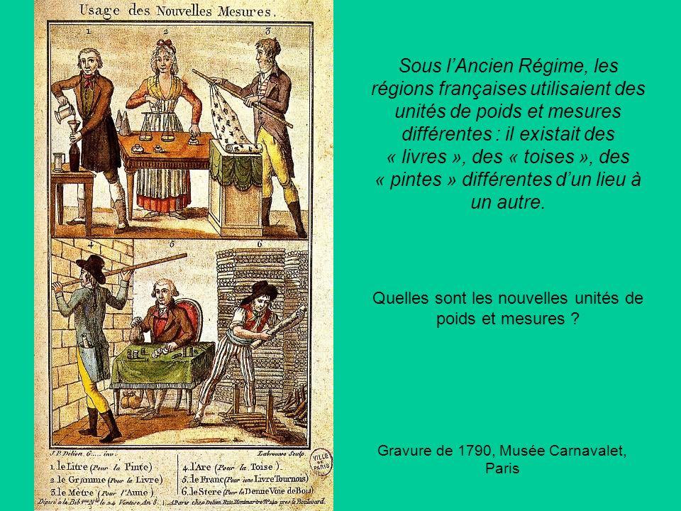Sous l'Ancien Régime, les régions françaises utilisaient des unités de poids et mesures différentes : il existait des « livres », des « toises », des « pintes » différentes d'un lieu à un autre.