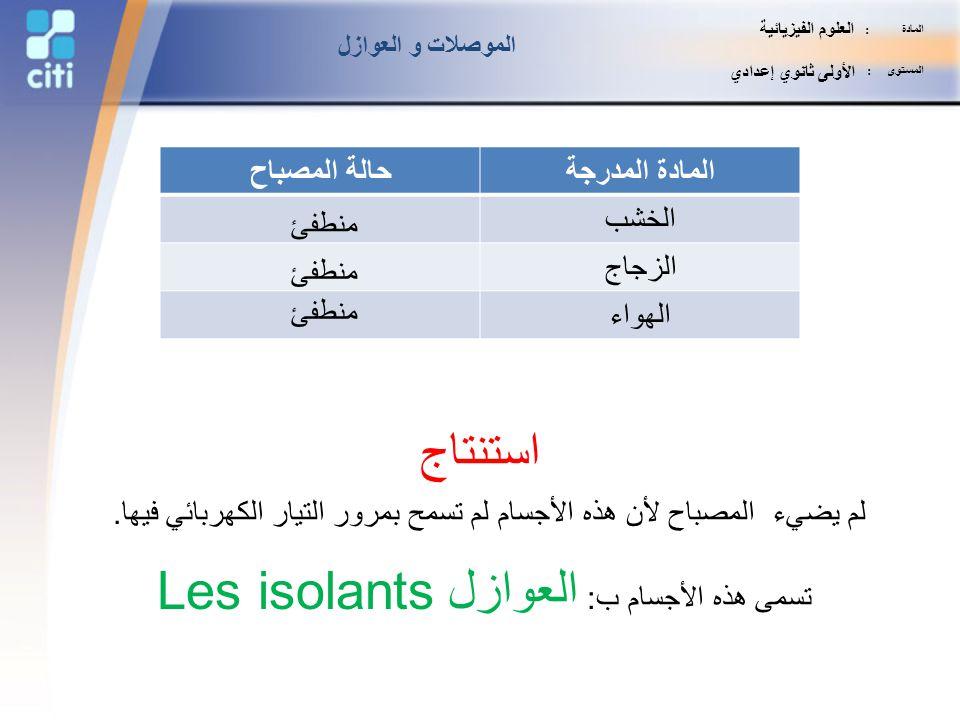 تسمى هذه الأجسام ب: العوازل Les isolants