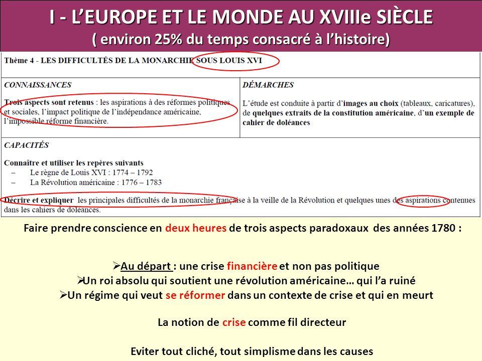 I - L'EUROPE ET LE MONDE AU XVIIIe SIÈCLE