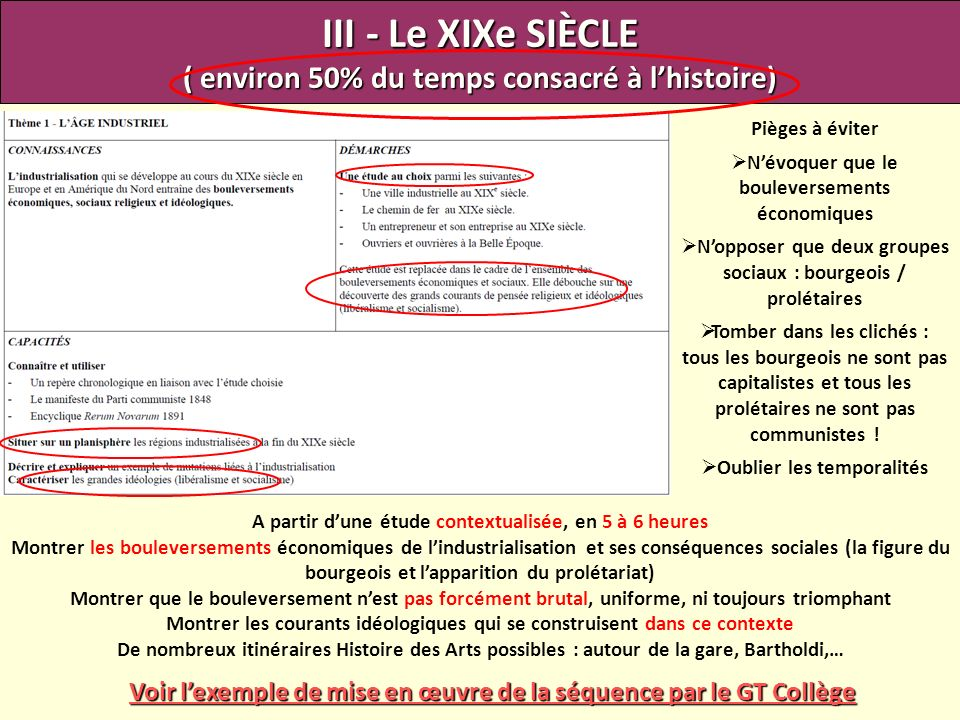 III - Le XIXe SIÈCLE ( environ 50% du temps consacré à l'histoire)