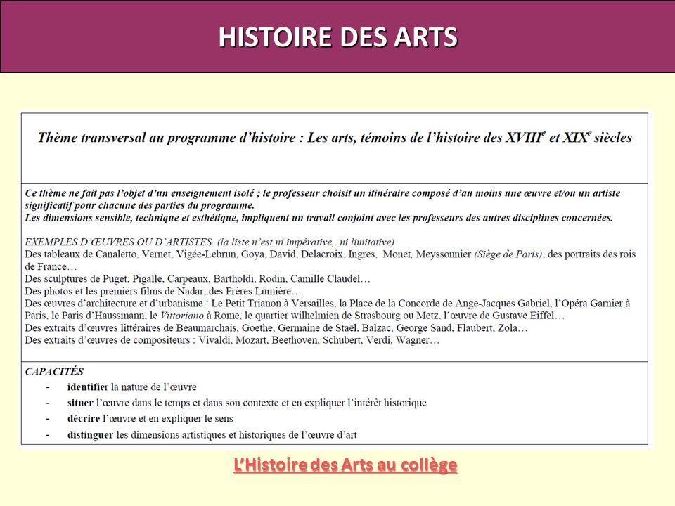 L'Histoire des Arts au collège