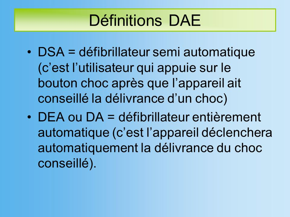 Définitions DAE