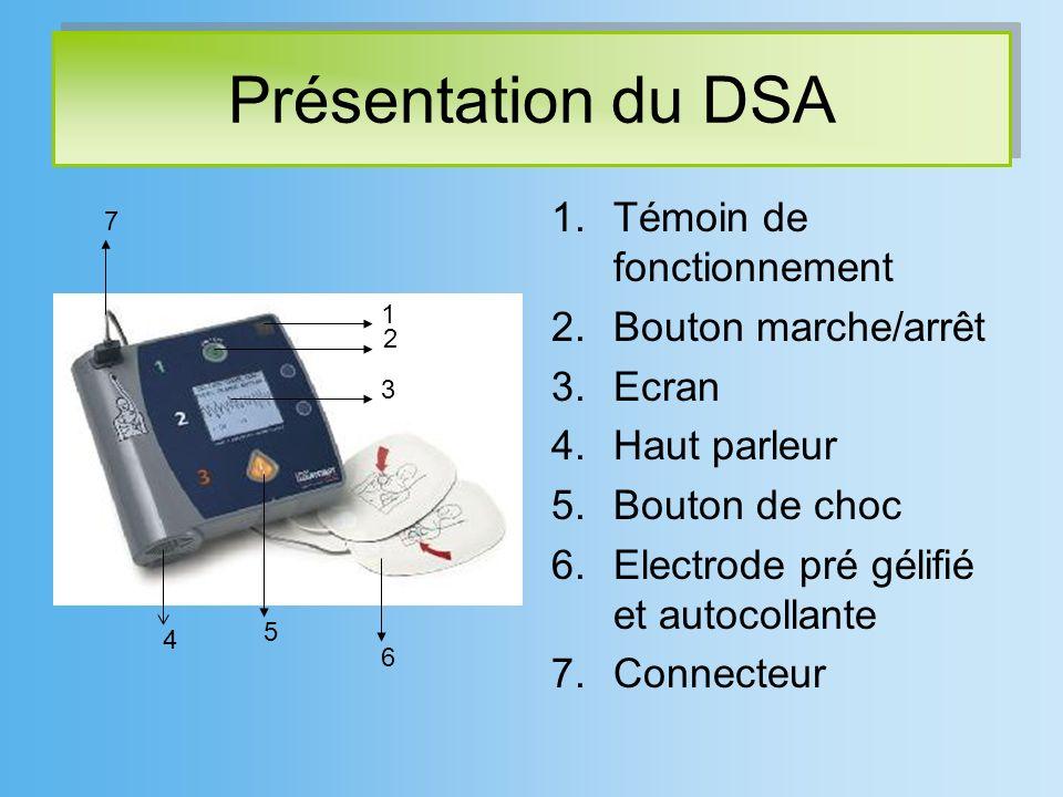 Présentation du DSA Témoin de fonctionnement Bouton marche/arrêt Ecran
