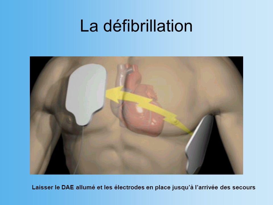 La défibrillation Laisser le DAE allumé et les électrodes en place jusqu'à l'arrivée des secours