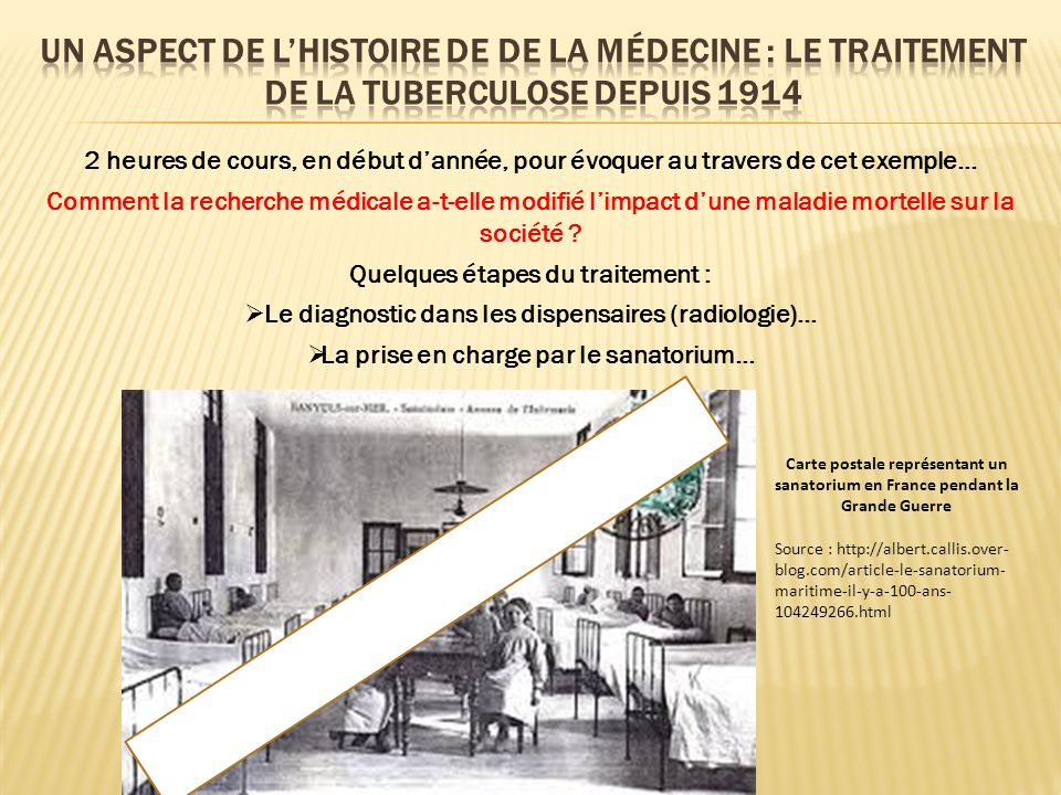 UN aspect De l'HISTOIRE DE de la médecine : le traitement de la tuberculose depuis 1914