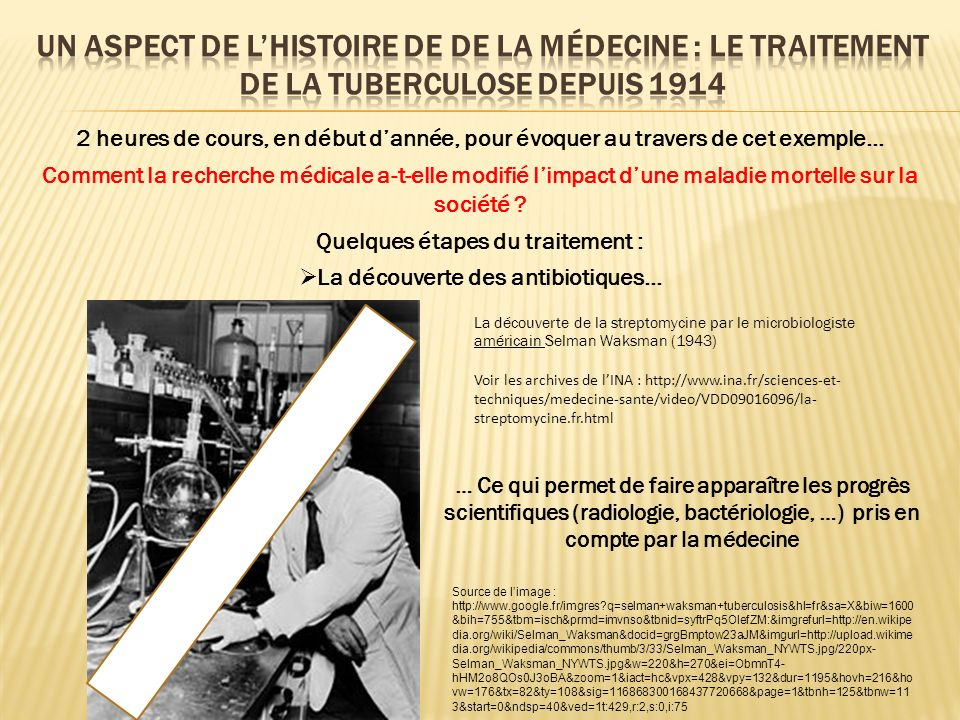 Quelques étapes du traitement : La découverte des antibiotiques…