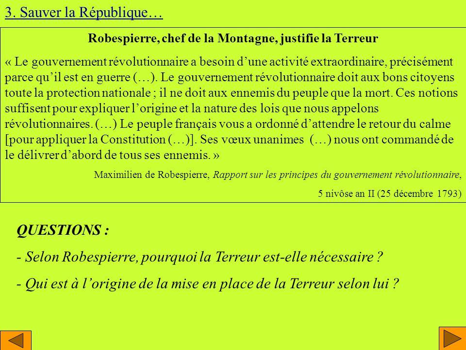 Robespierre, chef de la Montagne, justifie la Terreur