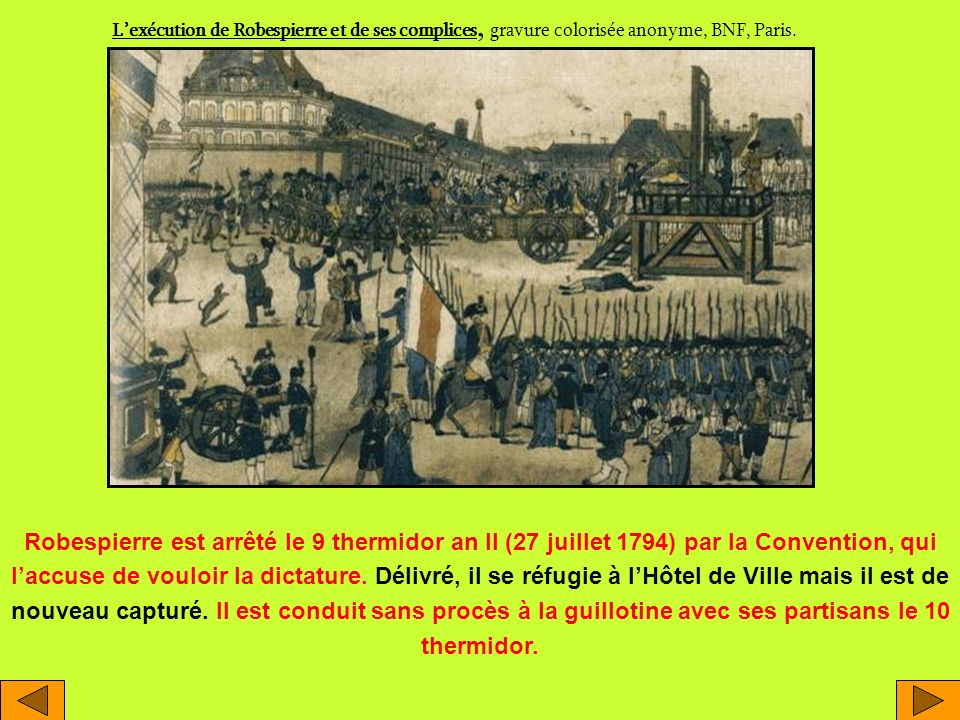 L'exécution de Robespierre et de ses complices, gravure colorisée anonyme, BNF, Paris.