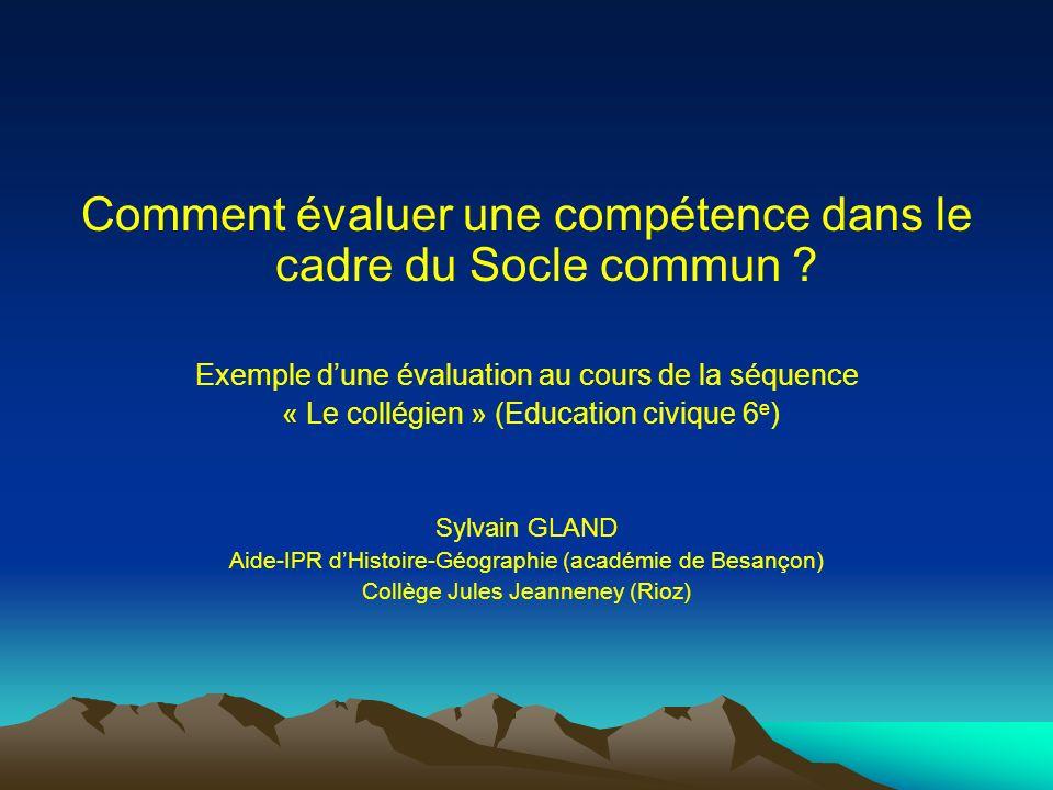 Comment évaluer une compétence dans le cadre du Socle commun