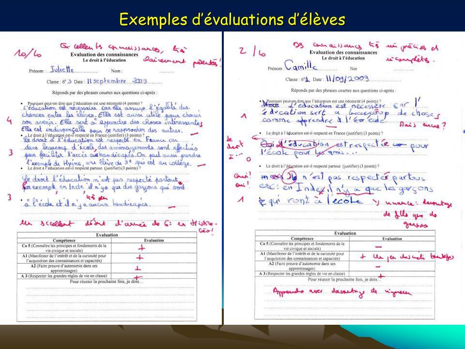 Exemples d'évaluations d'élèves