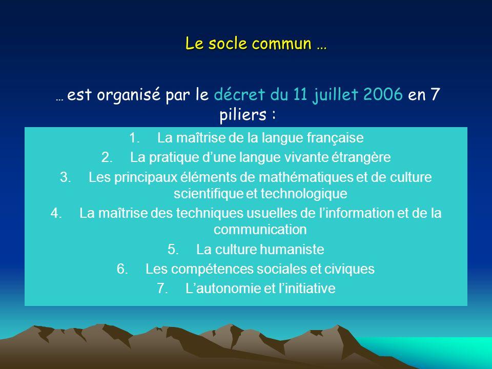 Le socle commun … La maîtrise de la langue française