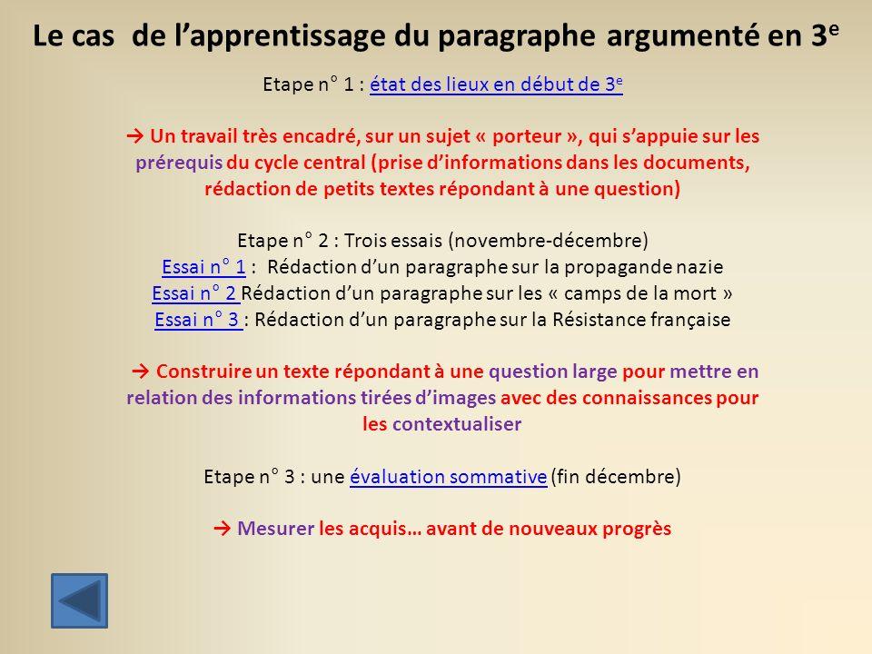 Le cas de l'apprentissage du paragraphe argumenté en 3e