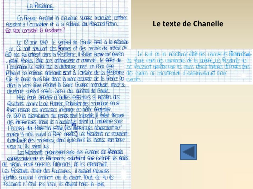 Le texte de Chanelle Texte qui a bien progressé (structure, langue, utilisation des documents, informations)…