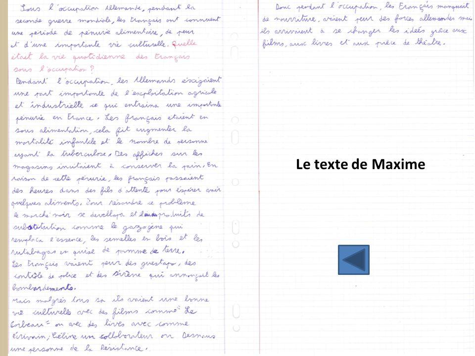 Le texte de Maxime