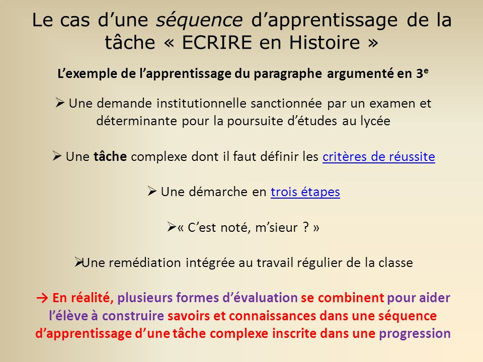 L'exemple de l'apprentissage du paragraphe argumenté en 3e