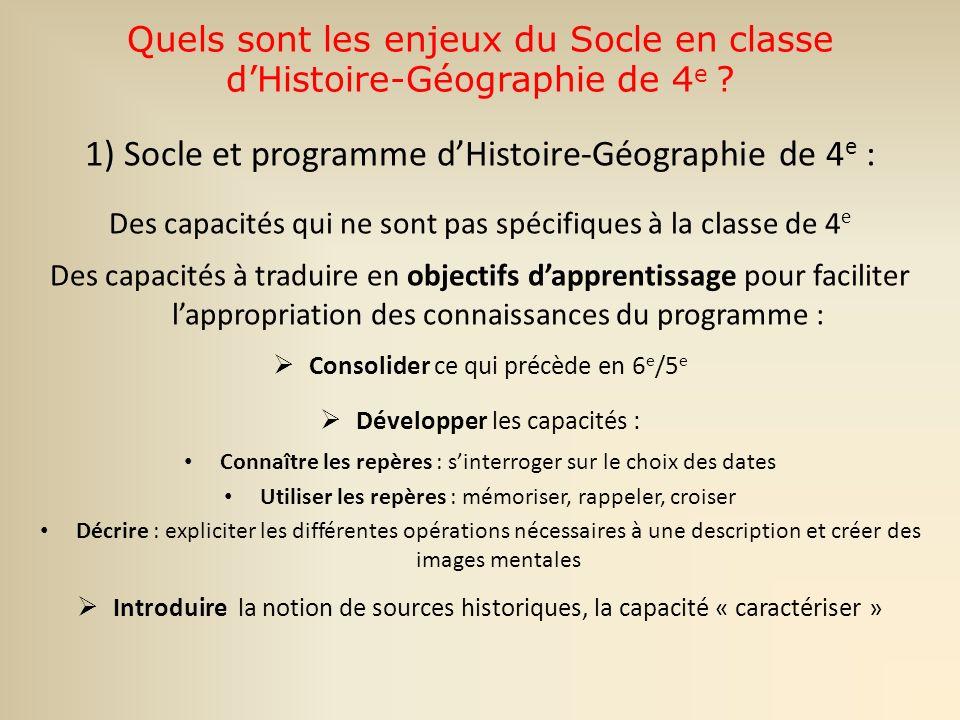 Quels sont les enjeux du Socle en classe d'Histoire-Géographie de 4e