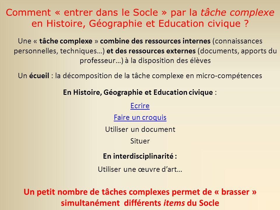 Comment « entrer dans le Socle » par la tâche complexe en Histoire, Géographie et Education civique