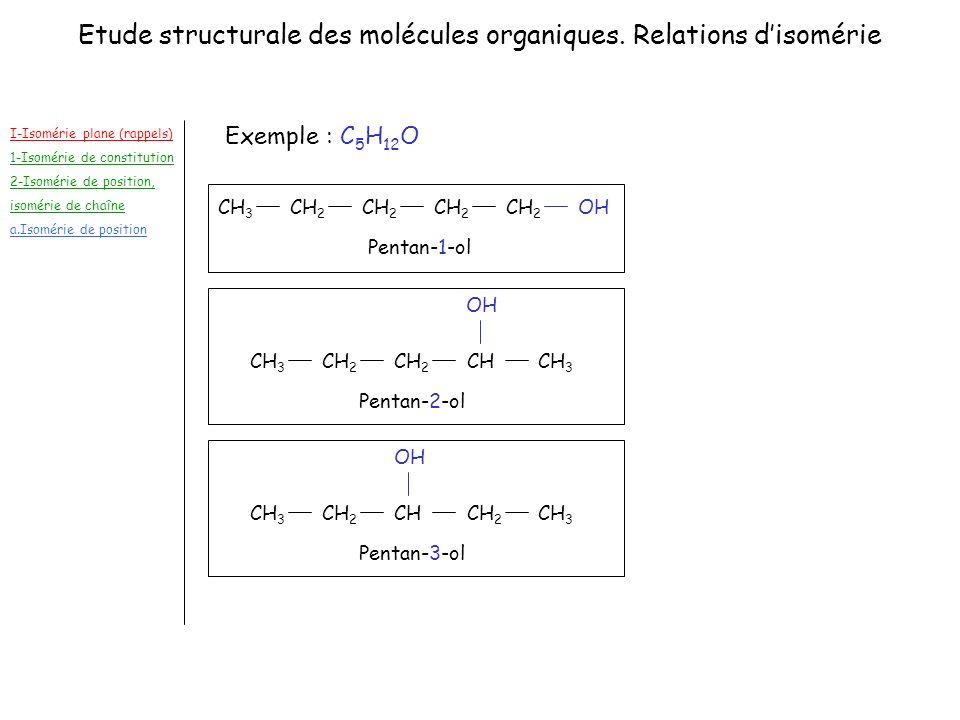 Etude structurale des molécules organiques. Relations d'isomérie
