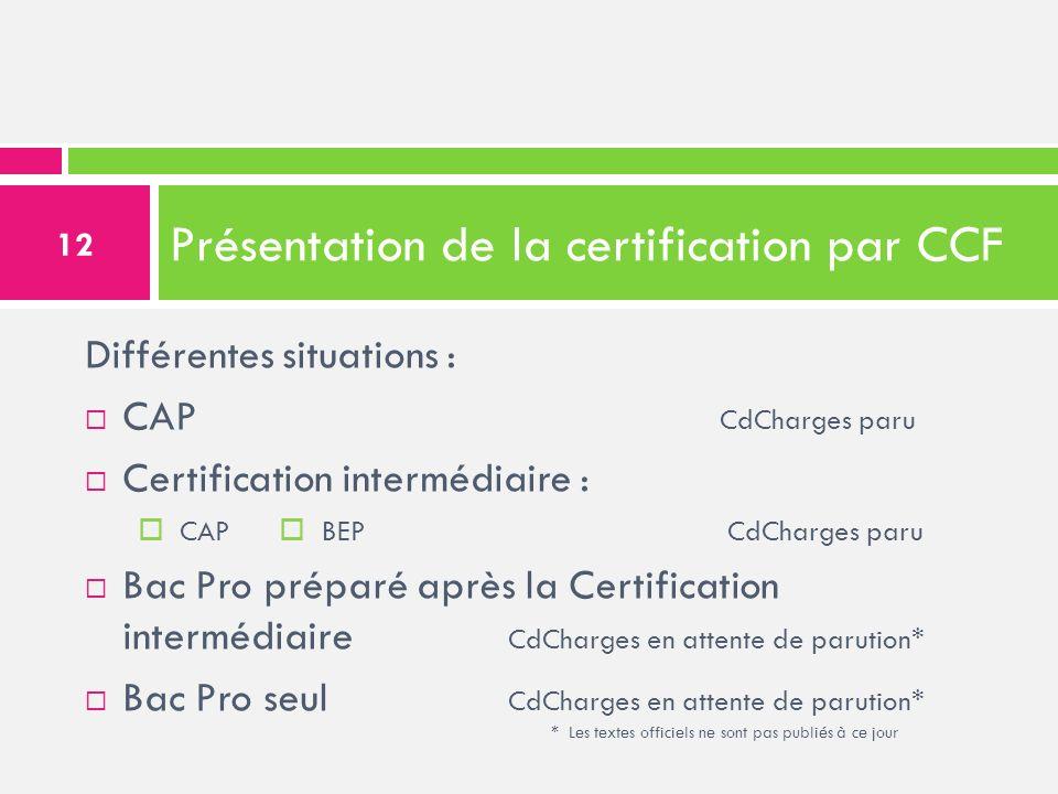 Présentation de la certification par CCF