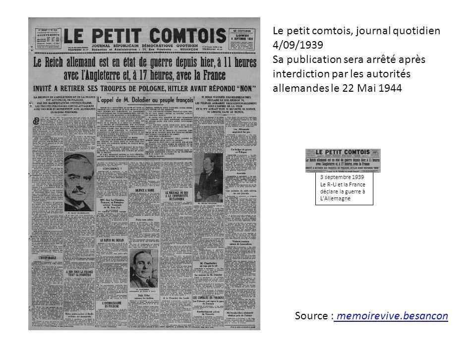 Le petit comtois, journal quotidien 4/09/1939