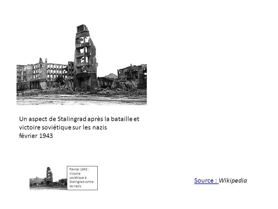 Un aspect de Stalingrad après la bataille et victoire soviétique sur les nazis