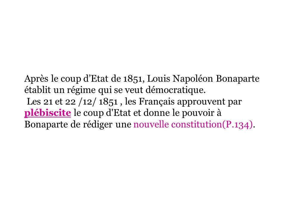 Après le coup d'Etat de 1851, Louis Napoléon Bonaparte établit un régime qui se veut démocratique.