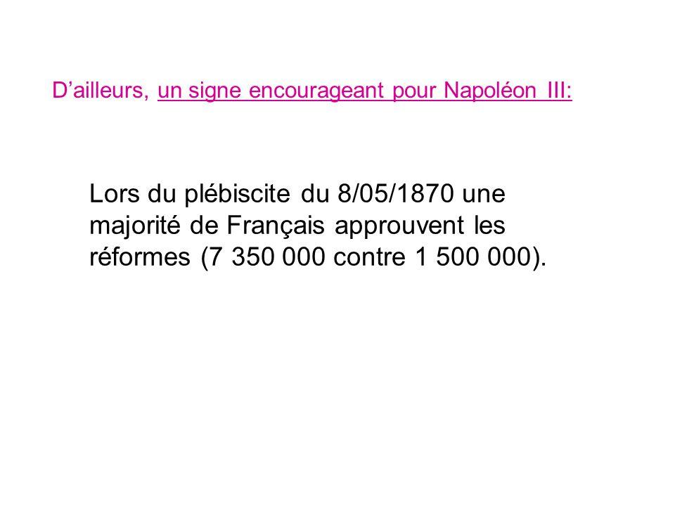 D'ailleurs, un signe encourageant pour Napoléon III: