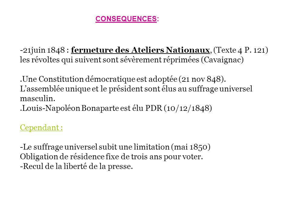 -21juin 1848 : fermeture des Ateliers Nationaux, (Texte 4 P. 121)