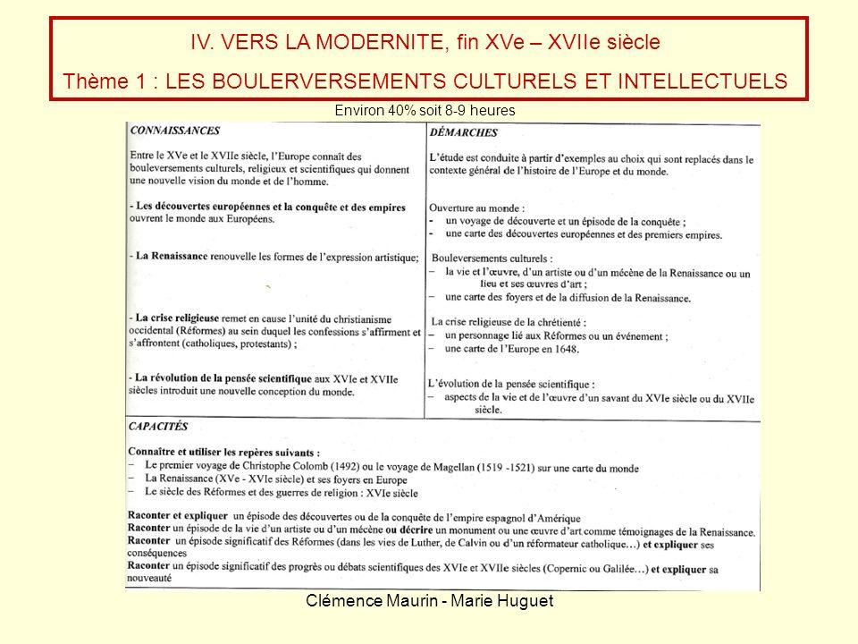 IV. VERS LA MODERNITE, fin XVe – XVIIe siècle