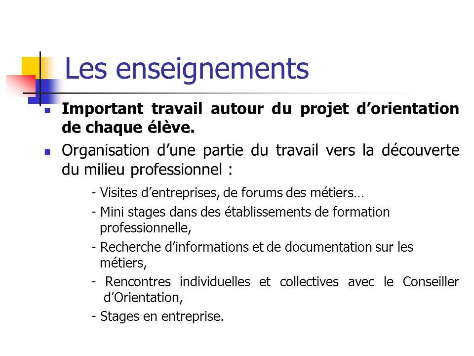 Les enseignements Important travail autour du projet d'orientation de chaque élève.