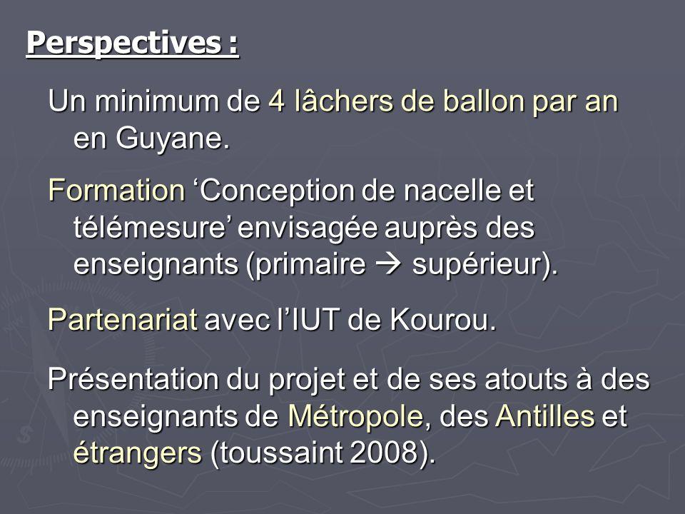 Perspectives :Un minimum de 4 lâchers de ballon par an en Guyane.