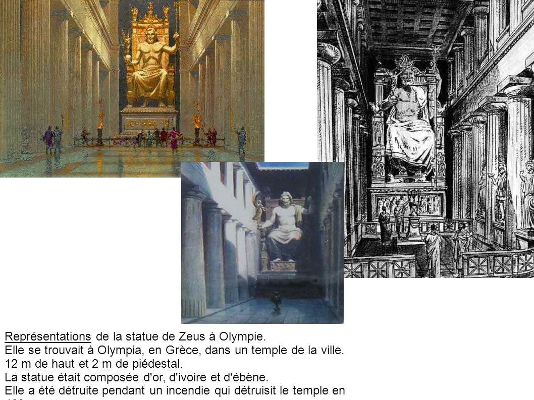 Représentations de la statue de Zeus à Olympie.