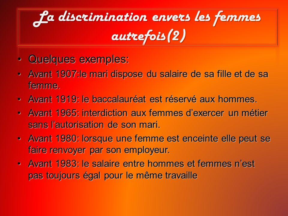 La discrimination envers les femmes autrefois(2)