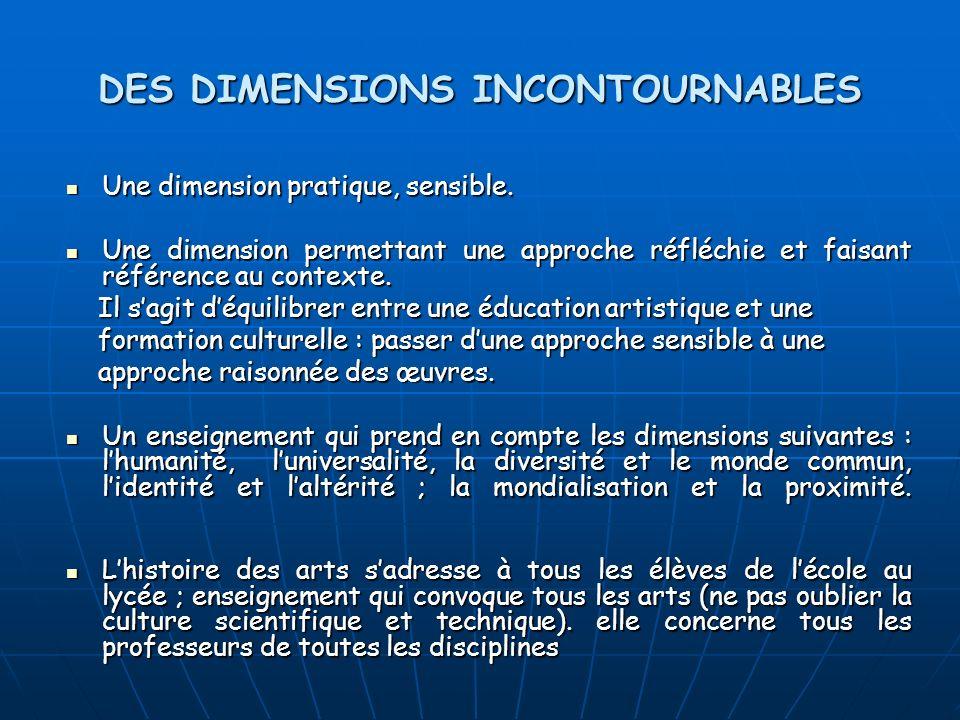 DES DIMENSIONS INCONTOURNABLES