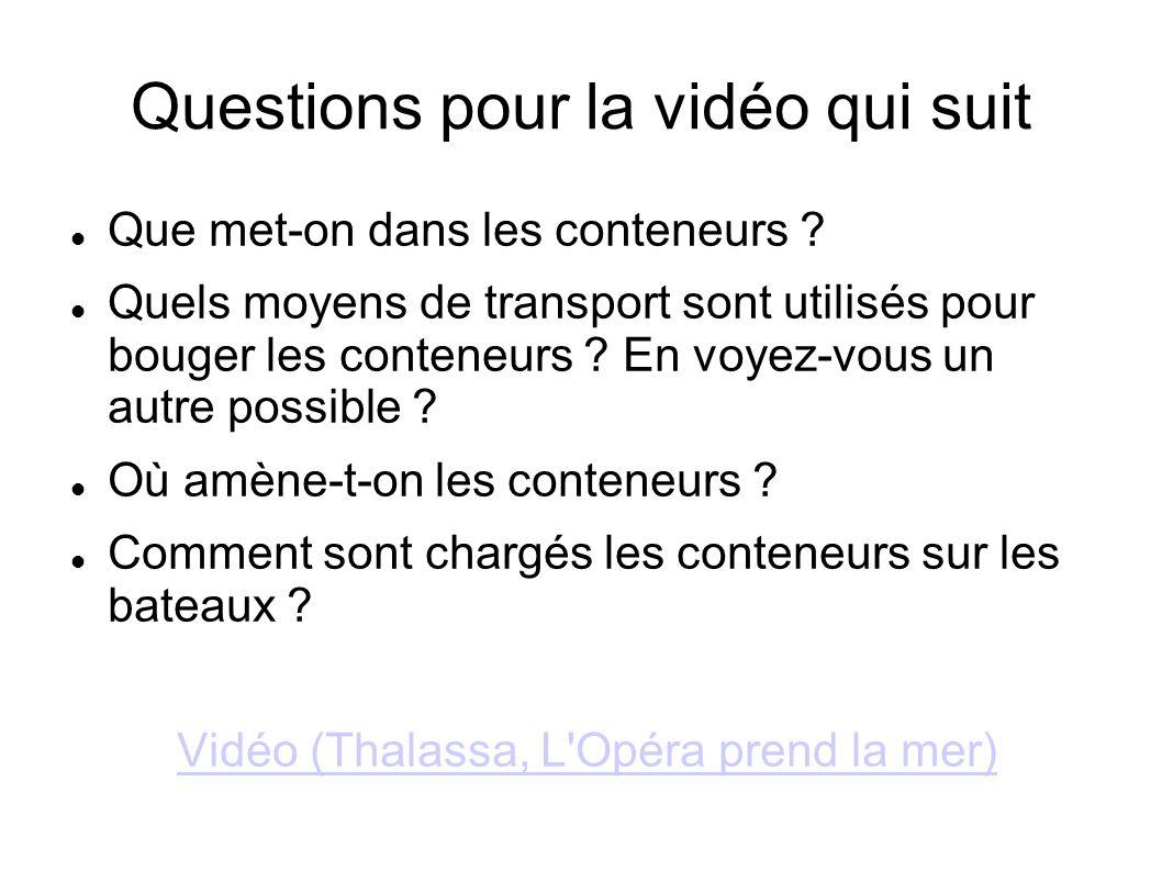 Questions pour la vidéo qui suit