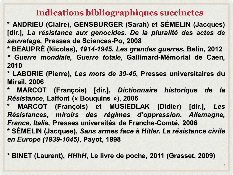 Indications bibliographiques succinctes