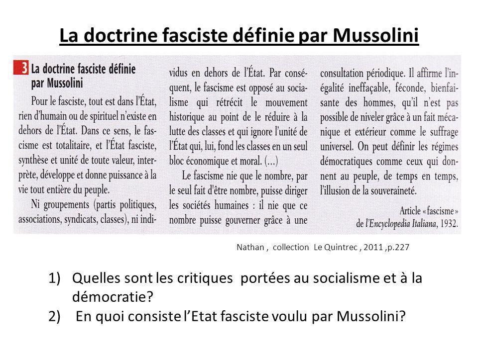 La doctrine fasciste définie par Mussolini