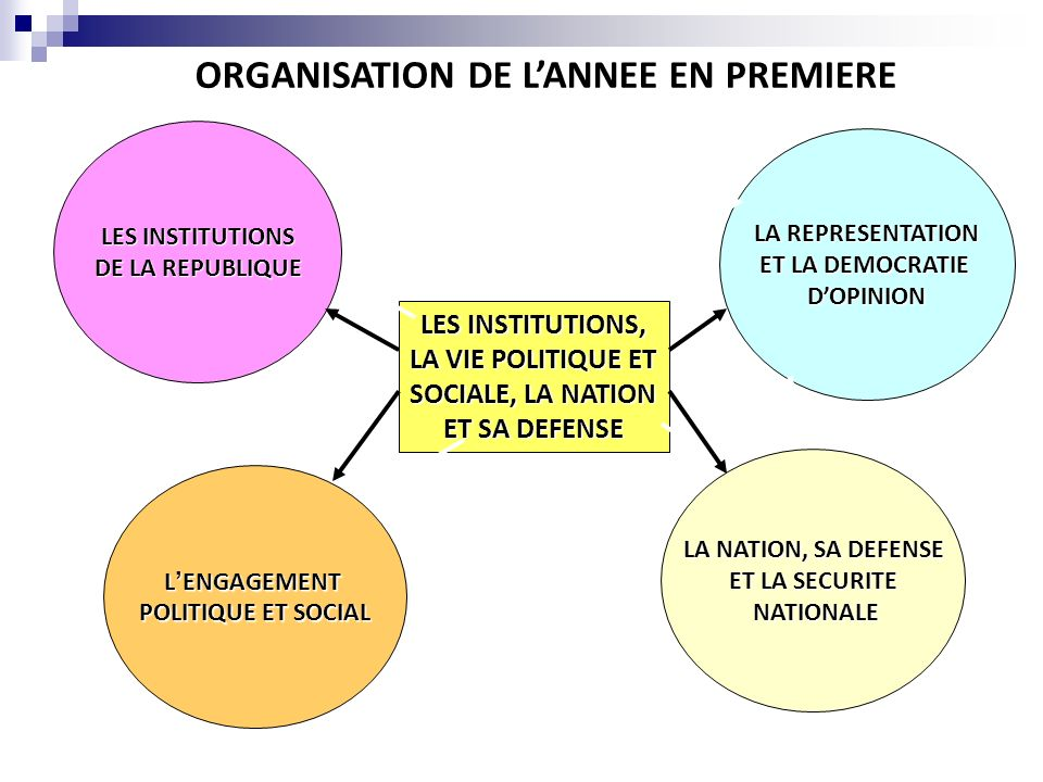 ORGANISATION DE L'ANNEE EN PREMIERE