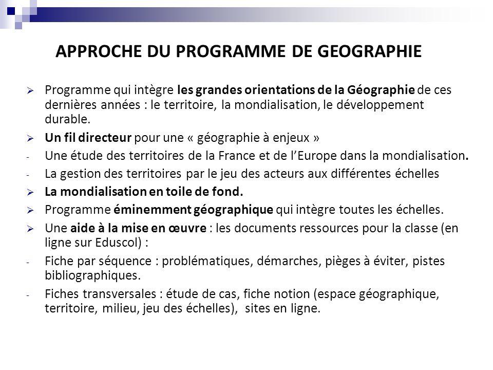 APPROCHE DU PROGRAMME DE GEOGRAPHIE