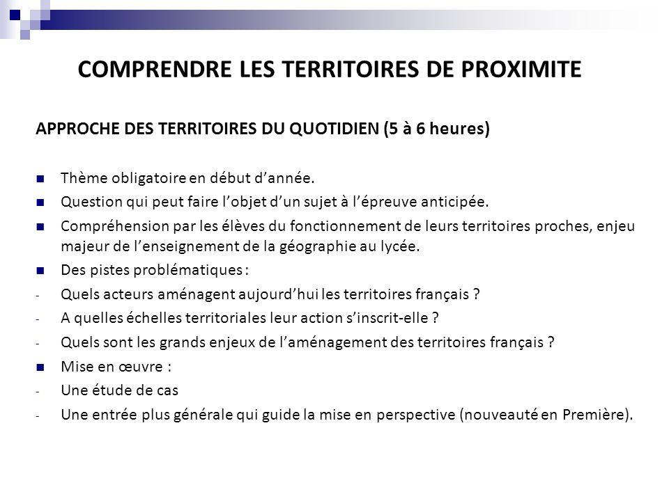 COMPRENDRE LES TERRITOIRES DE PROXIMITE