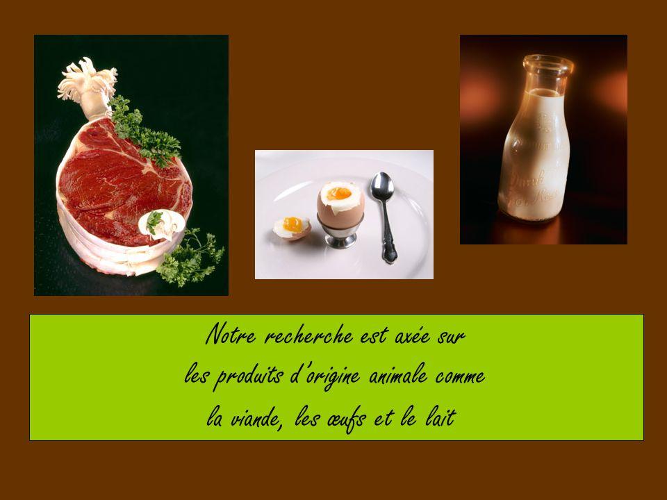 Notre recherche est axée sur les produits d'origine animale comme