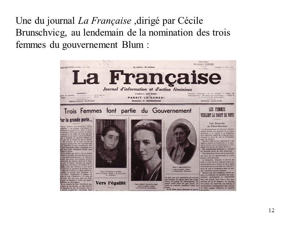 Une du journal La Française ,dirigé par Cécile Brunschvicg, au lendemain de la nomination des trois femmes du gouvernement Blum :