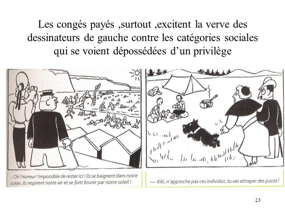 Les congés payés ,surtout ,excitent la verve des dessinateurs de gauche contre les catégories sociales qui se voient dépossédées d'un privilège