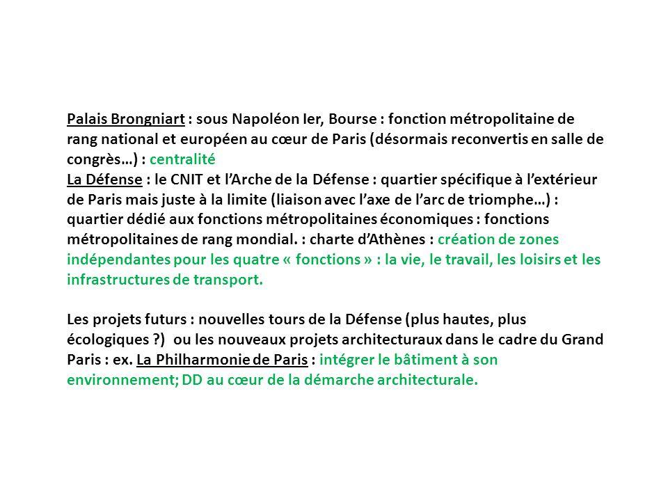 Palais Brongniart : sous Napoléon Ier, Bourse : fonction métropolitaine de rang national et européen au cœur de Paris (désormais reconvertis en salle de congrès…) : centralité