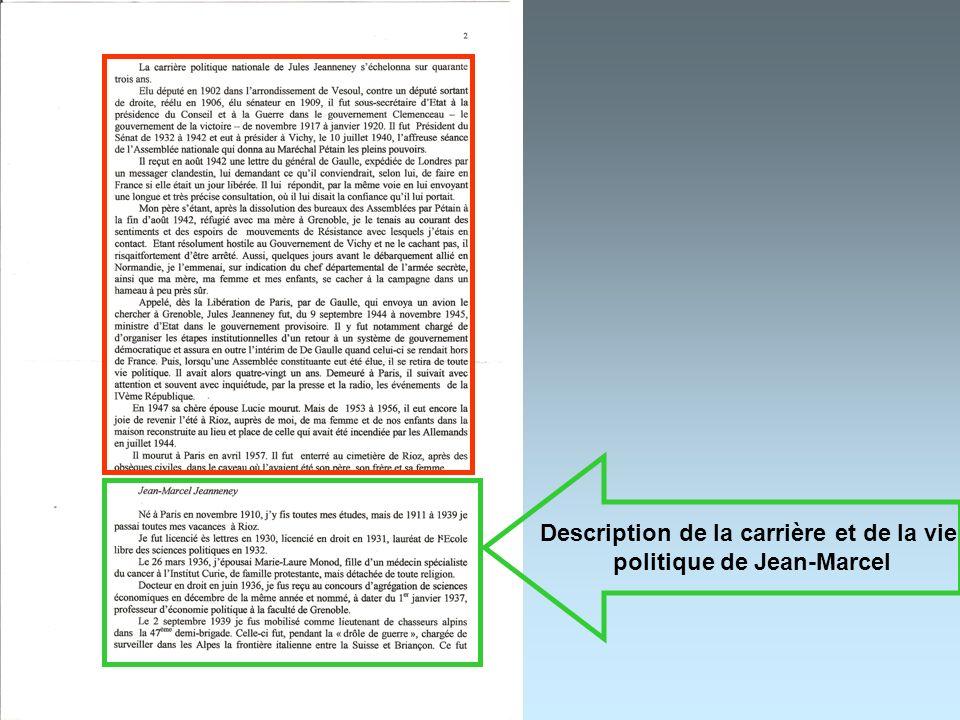 Description de la carrière et de la vie politique de Jean-Marcel