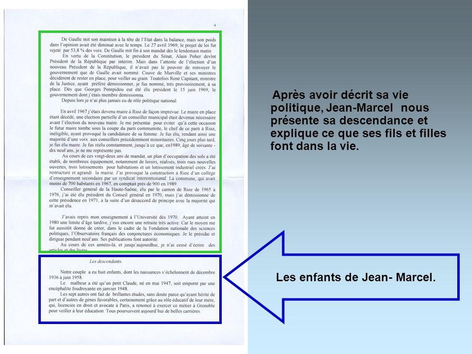 Les enfants de Jean- Marcel.