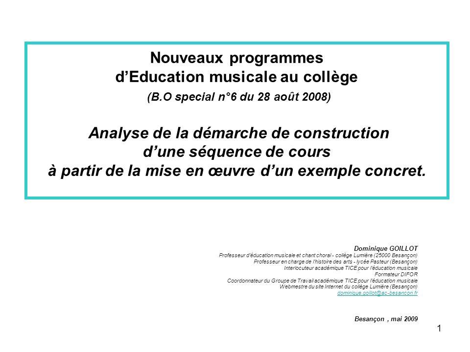 Nouveaux programmes d'Education musicale au collège (B